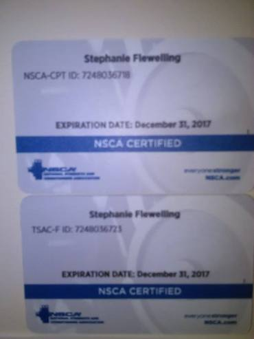 NSCA-certs. NSCA requires re-certification (with CEU's, etc) every 2 years.